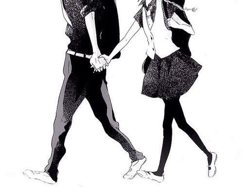 Anime couple running away